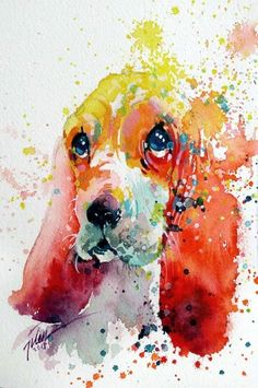 Splashed Watercolor Animals Paintings by Tilen Ti #artpeople www.artpeoplegallery.com