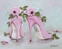 Gail McCormack art, pink and green painting Retro, Arte Fashion, Paper Shoes, Flower Shoes, Decoupage Paper, Shoe Art, Painted Shoes, Vintage Couture, Fashion Sketches