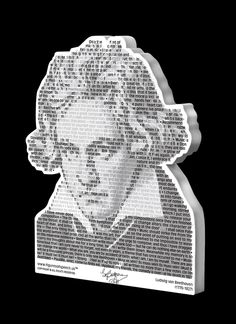 """Ludwig van Beethoven Magnet by FIGURES OF SPEECH is approx. 3.25"""" x 4"""" x 1/4"""", acrylic for added dimension, laser cut, black and gray on white. Ludwig van Beethoven's image is composed of his own quotations. See more at: figuresofspeech.us"""