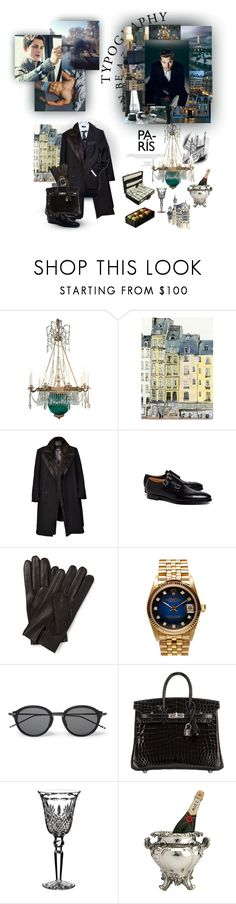 """The diving man's coming up for air cause the crowd all love pulling dolly by the hair, by the hair"" by alqualonde ❤ liked on Polyvore featuring Brooks Brothers, Berluti, Rolex, Thom Browne, Hermès, Waterford, vintage, men's fashion and menswear"