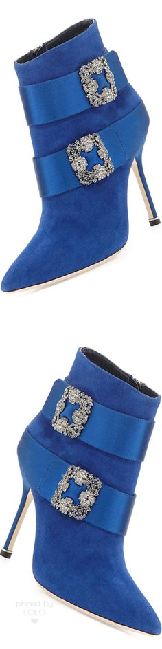 Manolo Blahnik Hangisi Suede Ankle Boot | LOLO❤