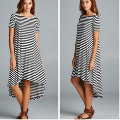 •hi Lo striped dress• This dress is so versatile! Dress it up or dress it down! Small bust measures 34 inches, length in front 36 inches, back 46 inches. Medium bust measures 36 inches, length in front 37 inches, back 47 inches.  Large bust measures 38 inches, length in front 37 inches, back 47. Material is 95% rayon and 5% spandex. Price firm. Dresses Midi