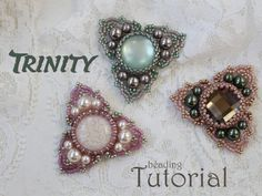Beading tutorial 'Trinity' - DIY beading pattern - beaded triangle ornament with cabochon