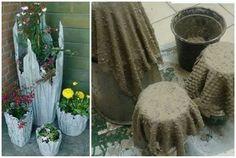 Květináče z hadry namočené do betonu :-)