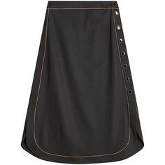 Vanessa Seward Virgin Wool Skirt (19,665 PHP) via Polyvore featuring skirts, black, calf length skirts, button midi skirt, mid calf skirts, orange skirts and orange midi skirt