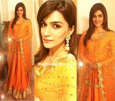 For the Dahi Handi festival in Pune, actress Kriti Sanon looked stunning in a vibrant orange anarkali by Sukriti & Aakriti. India Fashion, Teen Fashion, Womens Fashion, Ideas For Instagram Photos, Pakistani Bridal, Best Actress, Looking Stunning, Indian Wear, Bollywood Actress