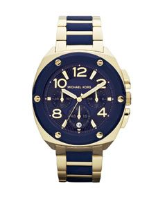 Michael Kors Mid-Size Golden/Navy Stainless Steel Tribeca Chronograph Watch