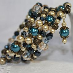 Memory Wire Beaded Bracelet Wrist Wrap Glass Beads and Glass Pearls Blue and Almond Womens Jewelry