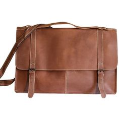 Sharo Large Leather Tool Brief Bag and Messenger ($158) ❤ liked on Polyvore featuring bags, messenger bags, brown, genuine leather messenger bag, courier bags, utility bag, leather messenger bag and locking courier bag