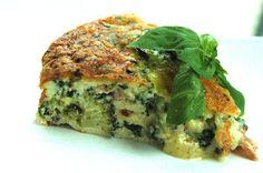 En enkel lchf quiche/paj med mye smak! broccoli bacon paprika spenat blue cheese