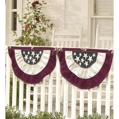 Small Half-Round Americana Flag Bunting x Patriotic Bunting, Blue Bunting, Vintage Bunting, Fromt Porch Ideas, Ecru Color, 4th Of July Decorations, Flag Decor, Hearth, Memorial Day