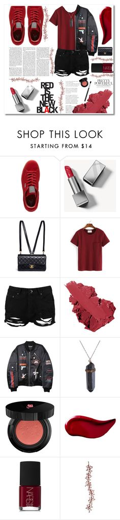 """""""Red is the new black"""" by nomikatz ❤ liked on Polyvore featuring Edition, Puma, Burberry, Chanel, WithChic, Boohoo, Bobbi Brown Cosmetics, Hyein Seo, Lancôme and Kat Von D"""