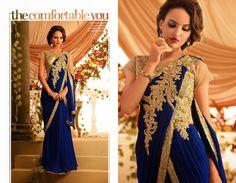 Butta Beige & Royal Blue Gown