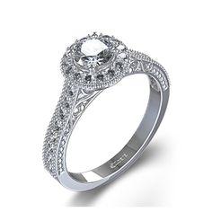 Double Milgrain Halo Diamond Engagement Ring In Palladium - France
