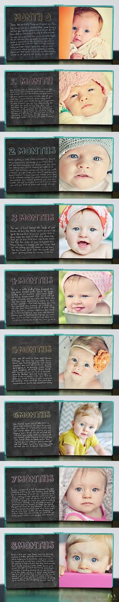 I love this, you can write what your baby is doing and learning each month! Then put it into a book... Would be a great grandparents gift!:) Love the chalk board look.