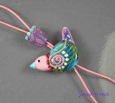 °° BIRDY °° set 3 mm hole lampwork bead set by jasmin french
