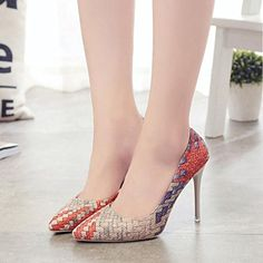 High Heels Bright Womens Summer High-heeled Sandals 2019 Spring New Genuine Leather Womens Mesh Shoes High-heeled Fashion Lace Sandals Women Aesthetic Appearance Women's Shoes