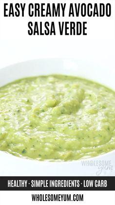 Creamy Tomatillo Salsa Verde Recipe - Learn how to make this EASY creamy tomatillo avocado salsa verde recipe. Just 20 minutes to prepare green avocado salsa (a. Appetizer Recipes, Keto Recipes, Vegetarian Recipes, Cooking Recipes, Healthy Recipes, Hot Sauce Recipes, Appetizers, Healthy Salads, Sauce Salsa