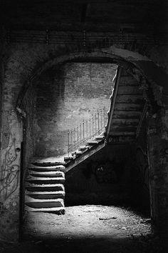I love stairways. Abandoned hospital complex in Beelitz Heilstaetten, south of Potsdam in Germany