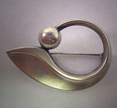 Modernist Hans Hansen Brooch Sterling Silver by AawsombleiJewelry, $350.00
