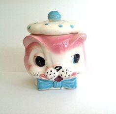 Kitsch Kitty Cat Cookie Jar Rare Vintage 1950s by looseendsvintage