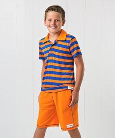 Love this Orange & Royal Blue Stripe Polo & Shorts - Infant, Toddler & Boys on #zulily! #zulilyfinds
