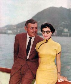 cheongsam vintage fashion style color photo print ad movie star clark gable Asian Chinese dress yellow qipao  50s