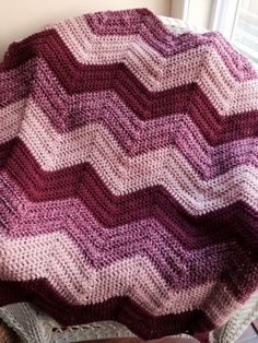 crochet knit BOLD chevron zig zag ripple baby toddler blanket afghan wrap adult lap wheelchair stripes VANNA WHITE yarn rose pink handmade by JDCrochetCreations on Etsy