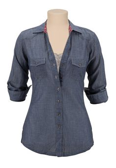 Chambray Button Down Shirt available at #Maurices