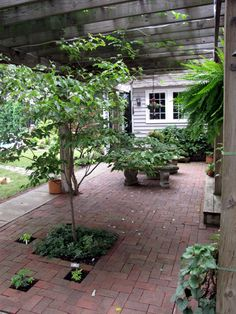 Brick Patio Intersd With Plantings And Shaded A Simple Pergola