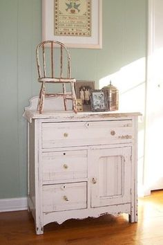 shabby chic furniture - wood chair and dresser - home decor