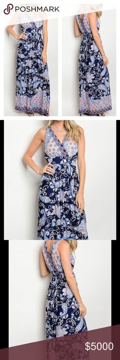 "🆕NAVY PAISLEY FLORAL PRINT MAXI DRESS Navy Print Maxi Dress  Pretty Navy Floral & Paisley Print  Surplice Bodice  V Back  Comfortable & Breathable Material   Full Length   Available in Sizes S, M, L  96% Polyester 4% Spandex   S: 28"" B, 58"" L, 26"" W M: 30"" B, 59"" L, 28"" W L: 32"" B, 60"" L, 30"" W  NOT A LIQUIDATION SALE ITEM Peach Couture Dresses Maxi"
