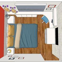 Projeto -Quarto da filha mantendo cômoda já existente - cinza vermelho azul tijolinho.. Cantinho de estudo sapateira tv lugar para skates. O q acham?