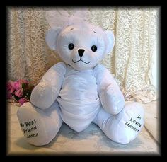 A Memory Bear Made From An Old Wedding Dress