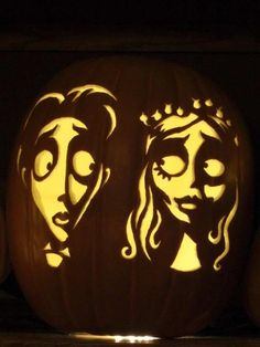 The Corpse Bride pumpkin carving. Wow!