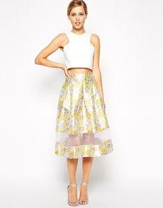 cc74cd618fa4 ASOS Premium Skirt In Jacquard With Sheer Hem at asos.com