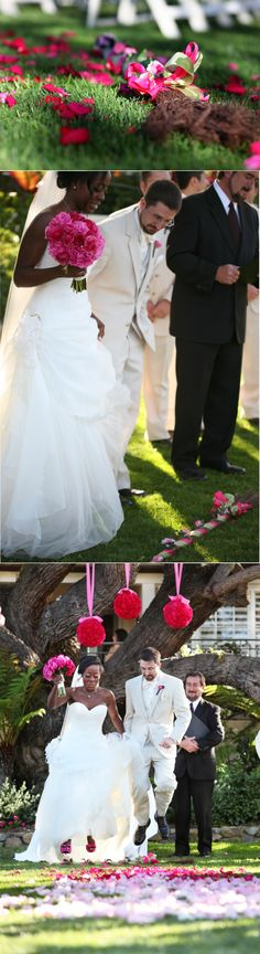Beautiful interracial couple on their wedding day honoring tradition by jumping the broom #love #wmbw #bwwm