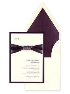 Plum purple wedding invitations