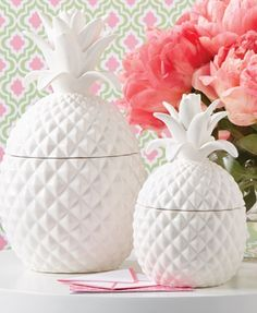 New* set of 2 pineapple jars with lids by two's company white decor chic