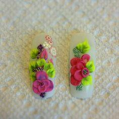 Uñas Glam Nails, 3d Nails, Love Nails, Pretty Nails, Acrylic Nail Art, 3d Nail Art, Acrylic Flowers, Stylish Nails, Nail Tutorials