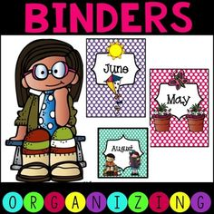 FREE! Includes binder covers (and spines) for each month. You can use these to keep papers organized by month! It also includes a label for each month.