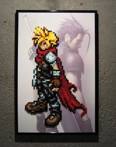 Cloud from the GBA Kingdom Hearts game. Faded image of Zack in the background. Commission for a friend. For sale on my Etsy here:
