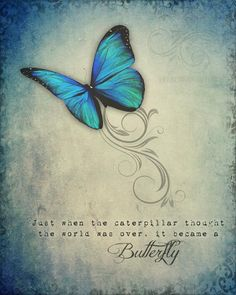A vibrant, detailed full color art print made with Epson lightfast inks in my studio. This inspirational print features whimsical vintage elements with a colorful Blue Morpho butterfly in flight along with an encouraging quote. Print is 8
