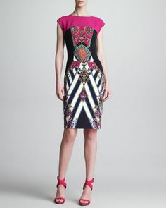 Mixed-Print Cap-Sleeve Sheath Dress, Pink/Black by Etro at Neiman Marcus.