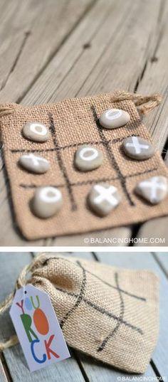 DIY Tic Tac Toe Rocas bolsa de regalo Más