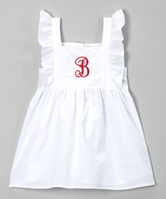 Look what I found on #zulily! White & Red Initial Angel-Sleeve Dress - Infant, Toddler & Girls #zulilyfinds