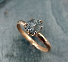 Raw Diamond Engagement Ring Rough Uncut 14k rose by byAngeline, $625.00