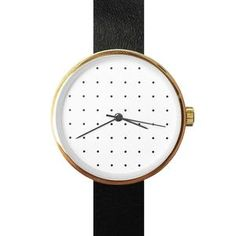 Polka Dot and Gold Face Leather Watch