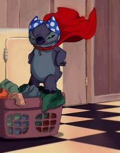 Stitch <3 i loved it when he was running around and his cape stopped flowing as soon add Nani saw him lol