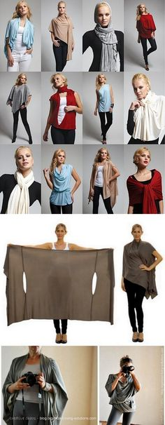 This wrap can be worn as a scarf, cardigan, poncho, blouse, shrug, stole, turtleneck, shoulder scarf, back wrap, tunic and headscarf. Also a link for the PDF download on how to achieve these looks.